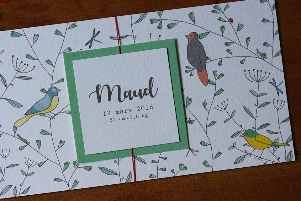 faire-part naissance Maud - nature et oiseaux