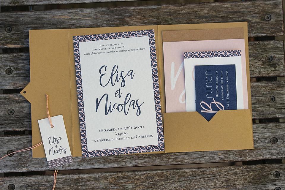 Faire-part pochette mariage - kraft, bleu et rose