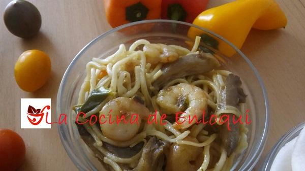 13.05.16 fideos chinos con gambas y verdura