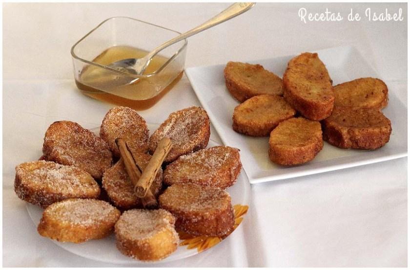 Torrijas de leche con azúcar canela y miel