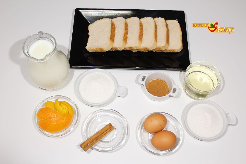 Ingredientes para Torrijas tradicionales