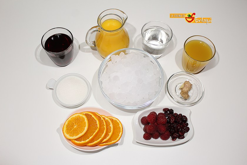 Ingredientes para Ponche de frutas sin alcohol