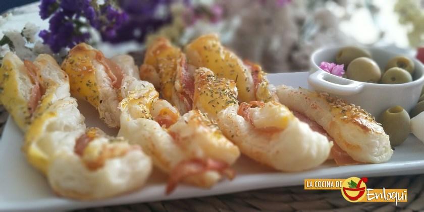 Palitos de hojaldre con jamón