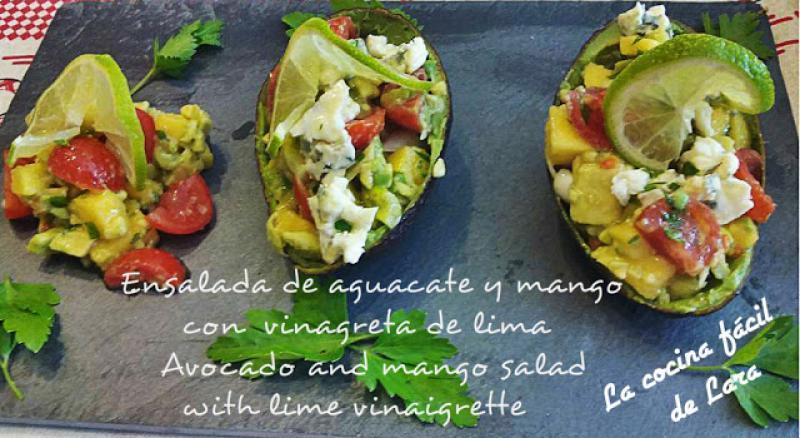 Ensalada de aguacate con mango y lima