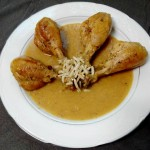 Muslitos de pollo con salsa almendras