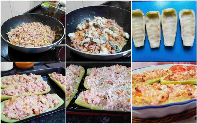 calabacines rellenos de pollo y queso azul