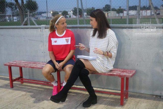 La capitana del Sevilla Femenino, Alicia, charla con nuestra redactora |Imagen: Nuria Romero