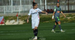 Nagore Calderón, durante un partido del Femenino | Imagen: La Colina de Nervión - Javier Barroso
