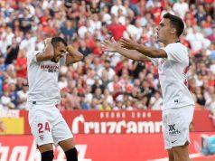 Jordán y Reguilón se lamentan en su primer partido en el Sánchez-Pizjuán como sevillistas. | Foto: Sevilla FC
