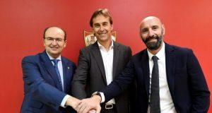 Castro y Monchi, con Lopetegui, una de las grandes noticias del Sevilla FC, en la presentación del vasco | Imagen: Sevilla FC