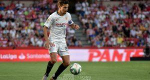 Jesús Navas, durante el partido ante el Granada en el Nuevo Los Cármenes | Imagen: La Colina de Nervión - Javi Barroso