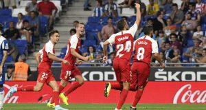 Jordán, De Jong, Reguilón y Nolito, celebrando el segundo tanto ante el Espanyol   Imagen: Sevilla FC