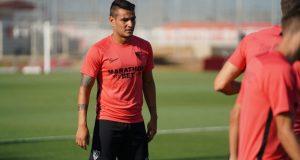 Rony Lopes, durante su primer entrenamiento con el Sevilla | Imagen: Sevilla FC