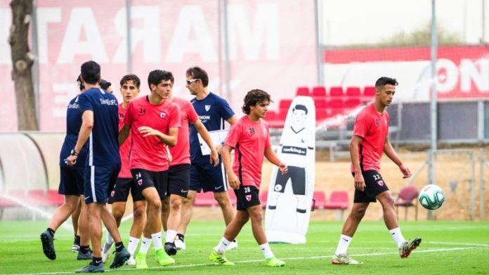 Carlos Álvarez, Juanlu y otros canteranos, entrenando con el Sevilla   Imagen: Sevilla FC