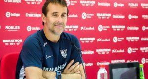 Lopetegui, durante la rueda de prensa previa al partido frente al Alavés   Imagen: Sevilla FC