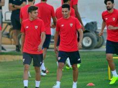 Alejandro Pozo y Jesús Navas, juntos en un entrenamiento | Imagen: Sevilla FC