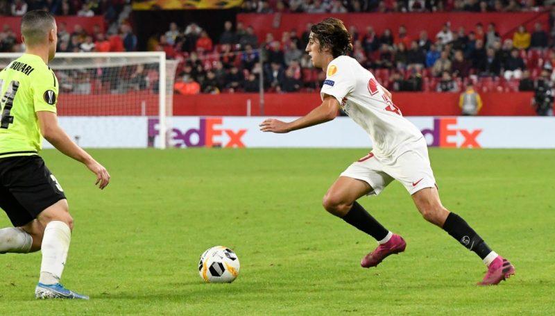 Bryan Gil, durante el partido frente al Dudelange   Imagen: Sevilla FC