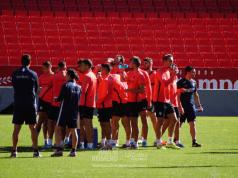 Los jugadores sevillistas, en el entrenamiento previo al partido del Sevilla ante el Betis | Imagen: La Colina de Nervión