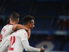Koundé, autor del primer tanto del Sevilla en la Copa del Rey 19/20, celebrando el gol con Sergi Gómez | Imagen: Sevilla FC