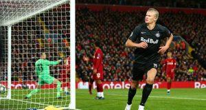 Erling Braut Haaland, objetivo del Sevilla, celebrando un gol en Anfield