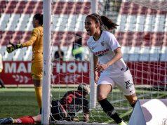 Isabella Echeverri, jugadora del Sevilla Femenino, durante el partido ante el Atlético de Madrid | Fotos: La Colina de Nervión - Javi Barroso