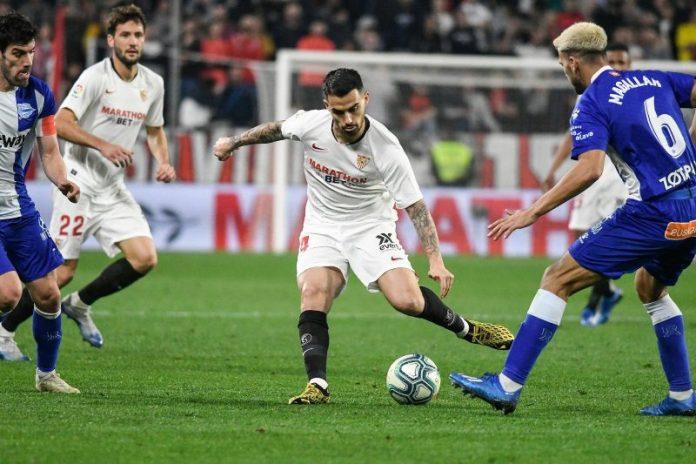 Suso, en su primer partido con el Sevilla
