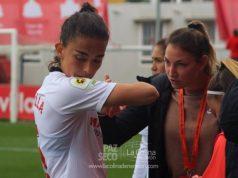 Isabella Echeverría y Aldi Cometti, tras el encuentro del Sevilla Femenino | Imagen: La Colina de Nervión - Paz Seco
