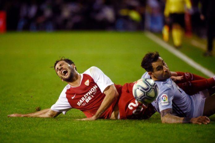 Franco Vázquez, durante el partido del Sevilla FC en Vigo | Imagen: MIGUEL RIOPA / AFP via Getty Images