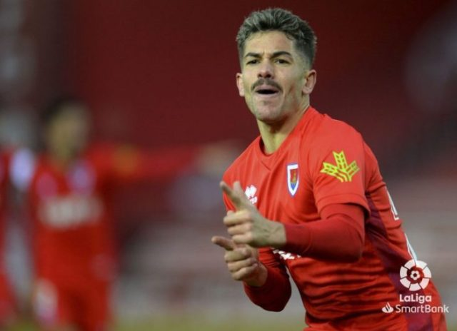 Curro Sánchez, canterano del Sevilla FC, celebrando un tanto del Numancia  Imagen: LaLiga