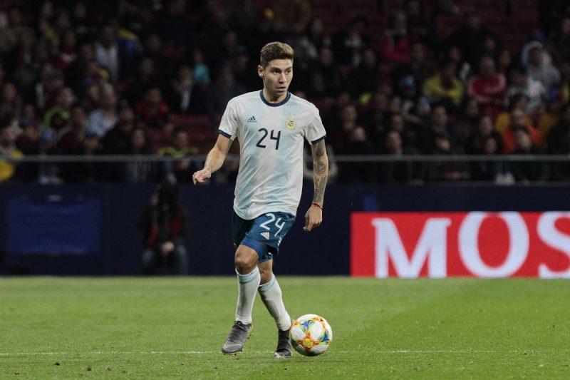 Gonzalo Montiel, uno de los nuevos fichajes del Sevilla FC, en un encuentro con la Selección Argentina