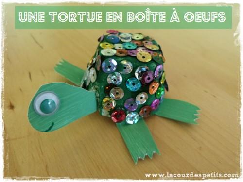 Bricolage Tortue En Bote Oeufs La Cour Des Petits