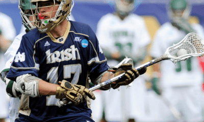 May 26, 2012; Boston, MA, USA; Notre Dame Fighting Irish midfield Will Corrigan (17) controls the ball during the second half of the NCAA Division I semifinals against the Loyola Maryland Greyhounds at Gillette Stadium. Mandatory Credit: Bob DeChiara-US PRESSWIRE