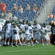May 26, 2012; Boston, MA, USA; Loyola Maryland Greyhounds players celebrate their victory be defeating the Notre Dame Fighting Irish in the NCAA Division I semifinals at Gillette Stadium. Mandatory Credit: Bob DeChiara-US PRESSWIRE