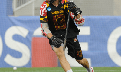 May 26, 2012; Boston, MA, USA; Maryland Terrapins attack Owen Blye (13) controls the ball while Duke Blue Devils midfielder Tommy Patterson (18) defends during the first half of the NCAA Division I semifinals at Gillette Stadium. Mandatory Credit: Bob DeChiara-USA TODAY Sports