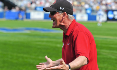 May 21, 2011; Hempstead NY, USA; Denver Pioneers head coach Bill Tierney yells at an official in the first half against the Johns Hopkins Blue Jays during the quarterfinal round of 2011 NCAA mens lacrosse tournament at James M. Shuart Stadium. Denver defeated Johns Hopkins by a score of 14-9 to advance to the Final Four. Mandatory Credit: Andrew Fielding-USA TODAY Sports