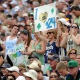 May 26, 2012; Boston, MA, USA; Notre Dame Fighting Irish fans hold a sign during the first half of the NCAA Division I semifinals against the Loyola Maryland Greyhounds at Gillette Stadium. Mandatory Credit: Bob DeChiara-USA TODAY Sports