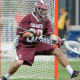 May 20, 2012; Chester, PA USA; Colgate Raiders goalie Conor Murphy (38) makes a save against the Duke Blue Devils during the first half of the NCAA Division I Men's Lacrosse Quarterfinals at PPL Park. Mandatory Credit: Eric Hartline-USA TODAY Sports