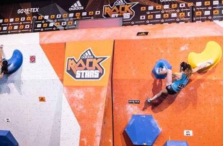 Miho Nonaka und Jernej Kruder gewinnen den Boulderwettkampf Adidas Rockstars 2018