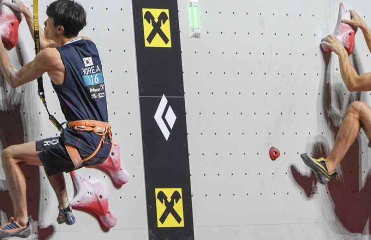 Reza Alipour y Aleksandra Rudzinska son campeonas mundiales de escalada rápida.