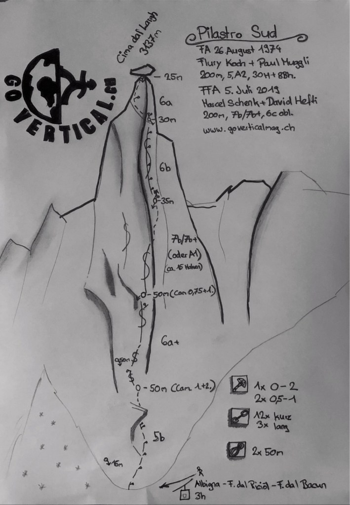Topo der Route am Südpfeiler der Cima dal Largh