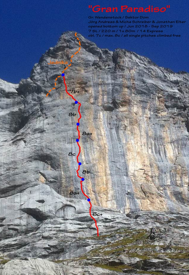Topo climbing Gran Paradiso turning sticks