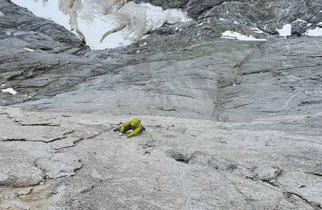 Marcel Schenk and David Hefti: First free ascent of the Via Nardella route on Piz Badile
