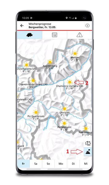 Abbildung 1: Bergwetter in der Wochenprognose