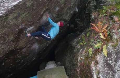 The Briton Eliot Stephens climbs Arzak (8c) and rows of more hard boulders