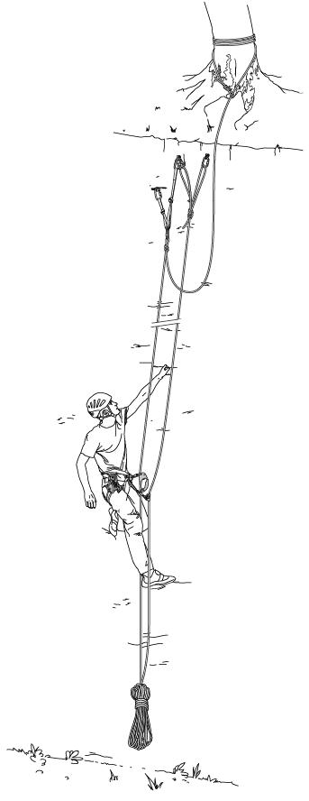 So sieht der Aufbau der Fixseile beim Rope-Solo-Klettern aus