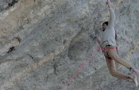 Barefoot climbers Charles Albert and Seb Bouin project Ratstaman Vibration (9c?)