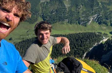 Nils Favre and Siebe Vanhee climb the multi-pitch route Parzival (8b)