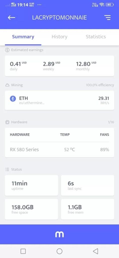 L'application Minerstat sur Android