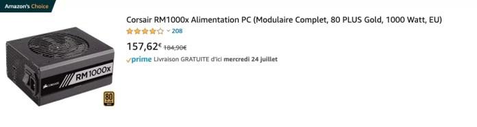 Corsair RM1000x Alimentation PC (Modulaire Complet, 80 PLUS Gold, 1000 Watt, EU)