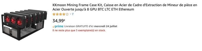 KKmoon Mining Frame Case Kit, Caisse en Acier de Cadre d'Extraction de Mineur de pièce en Acier Ouverte jusqu'à 8 GPU BTC LTC ETH Ethereum